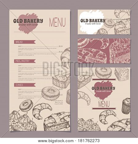 Set of bakery shop templates with menu, visit cards and reserved card, includes hand drawn sketch of apple pie, black forest cake, muffin, doughnut and croissant. Ready to use artwork.
