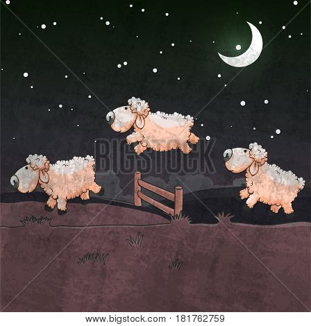 Three sheep jumping over the fence. Count them to sleep.