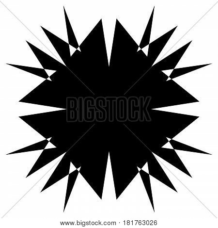 Square Element With Zig-zag, Criss-cross Distortion On White. Abstract Geometric Square Shape, Squar