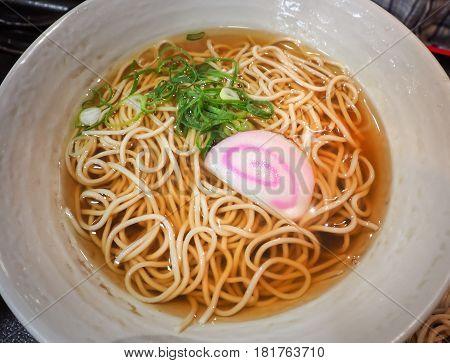 Japanese Soba noodle ramen in ceramic bowl, Japanese food