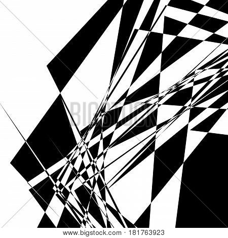 Rough, Edgy Geometric Texture. Abstract Black And White Illustration