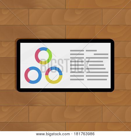 Round chart on tablets. Visualization info report vector illustration