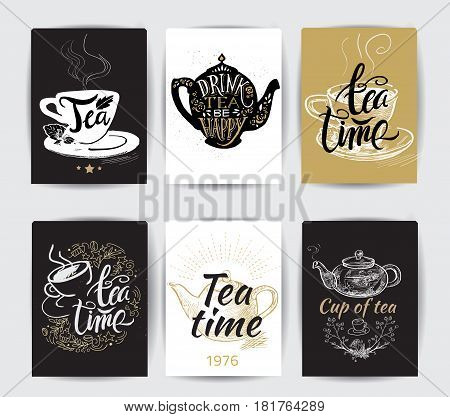 Set of tea pot silhouettes with quotes. Tea party set banner. Tea time. Cup of tea. Tea posters and prints. Vintage vector illustration.