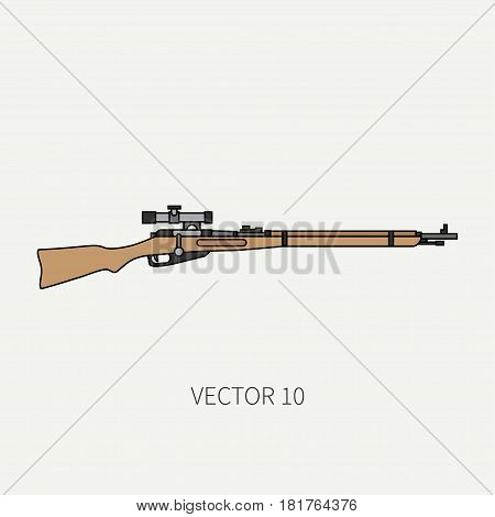 Line flat color vector military icon rifle, carbine. Army equipment and armament. Legendary retro weapon. Cartoon style. Assault. Soldiers. Slug. War. Illustration and element for design and wallpaper