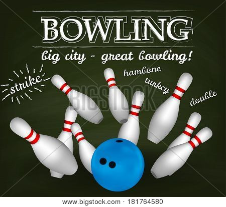 Bowl and bowling pins. Vector set for design on green board