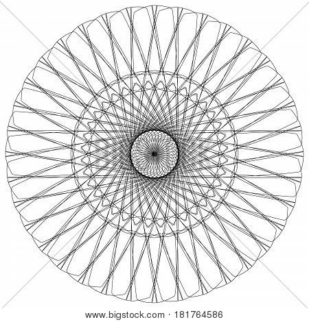 Abstract Spiral, Guilloche-like Circular Pattern. Outline Spiral Motif, Mandala