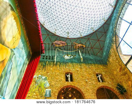 Figueres, Spain - September 15, 2015: Details from Dali's Museum, opened on September 28, 1974 and housing the largest collection of works by Salvador Dali on September 15, 2015 in Figueras, Catalunya, Spain