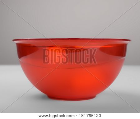 Red transparent plastic deep dish front view