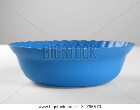 Blue round plastic deep dish front view