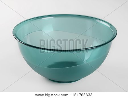 Green transparent plastic deep dish isolated on white background