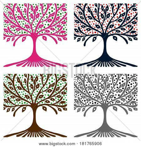 Vector Set Of Hand Drawn Illustrations, Decorative Ornamental Stylized Tree. Graphic Illustrations I