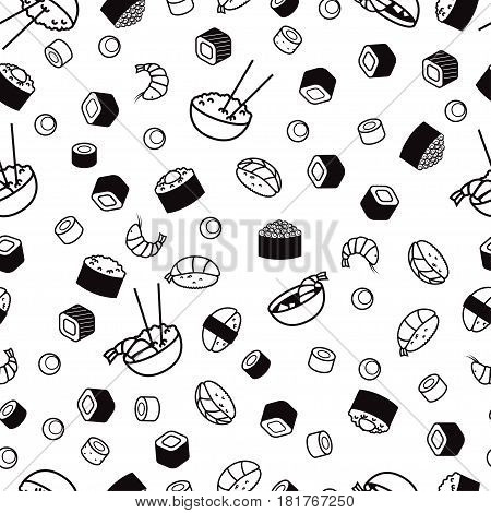 Seamless japenese food pattern, sushi and rolls, rice black and white