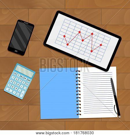Infochart report on tablet. Vector analytics on workplace illustration