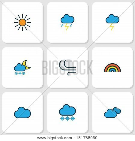Climate Colored Outlines Set. Collection Of Thunderstroke, Windy, Overcast Weather And Other Elements. Also Includes Symbols Such As Tempest, Freeze, Rainbow.