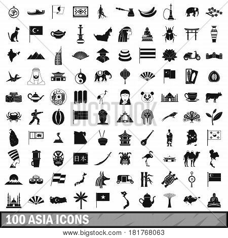 100 Asia icons set in simple style for any design vector illustration