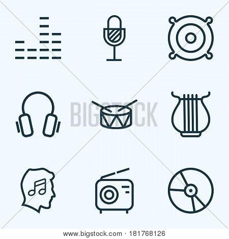 Music Outlines Set. Collection Of Plastic, Earphones, Barrel And Other Elements. Also Includes Symbols Such As Dj, Music, Headphone.
