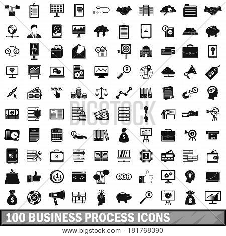 100 business process icons set in simple style for any design vector illustration