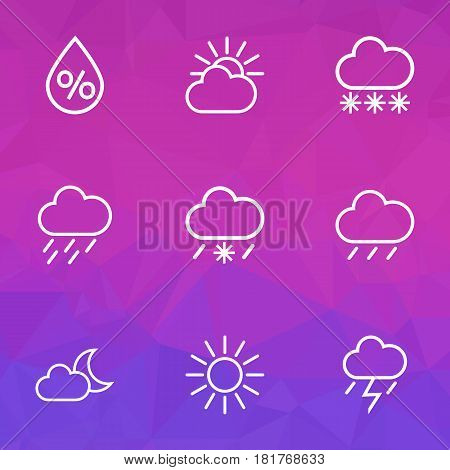 Meteorology Outlines Set. Collection Of Sun, Cloud Sky, Night And Other Elements. Also Includes Symbols Such As Percent, Night, Sunshine.