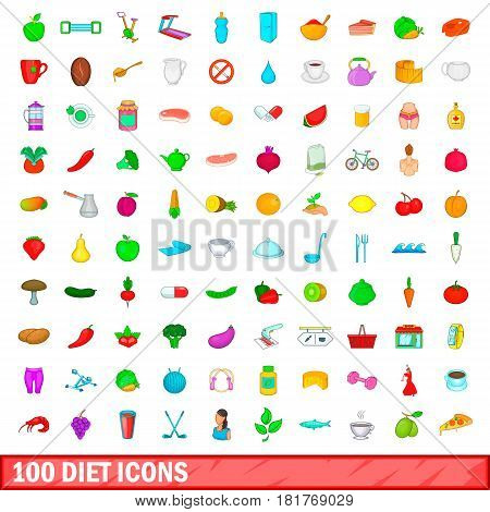 100 diet icons set in cartoon style for any design vector illustration