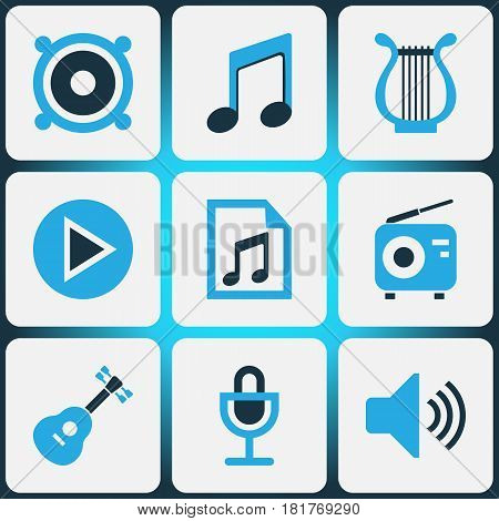 Multimedia Colored Icons Set. Collection Of Microphone, Guitar, Volume And Other Elements. Also Includes Symbols Such As Button, Play, Playlist.