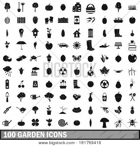 100 garden icons set in simple style for any design vector illustration