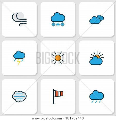 Weather Colored Outlines Set. Collection Of Thunderstroke, Tempest, Hail And Other Elements. Also Includes Symbols Such As Sun, Vane, Snow.