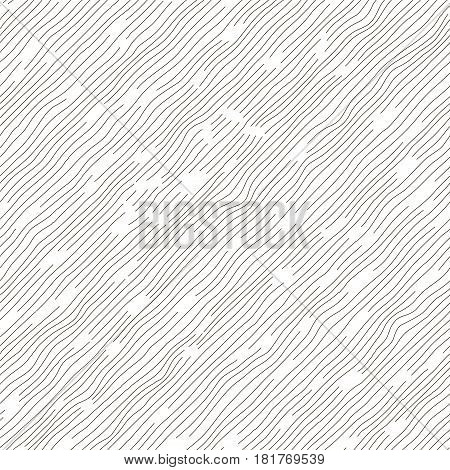 Vector monochrome seamless pattern. Abstract background. Irregular diagonal texture. Textured slanting lines ornament. Black and white illustration.