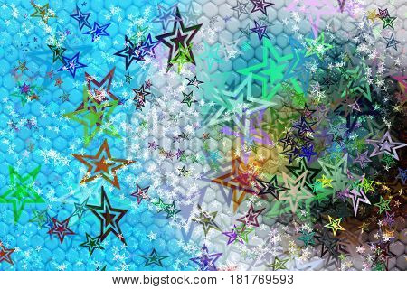 Fantasy abstract color background with stars shapes. Thousands of colorful stars and different colors. Backdrop with texture similar to reptile skin.