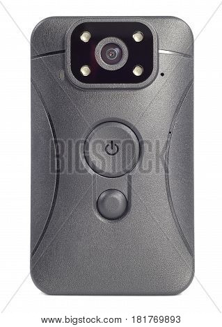 front view black plastic body camera or video recorder mounted on a Desk isolated on white background