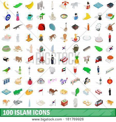 100 islam icons set in isometric 3d style for any design vector illustration