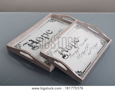 Empty wooden trays with text and dekoration for serving food or beverages