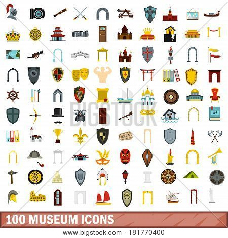 100 museum icons set in flat style for any design vector illustration