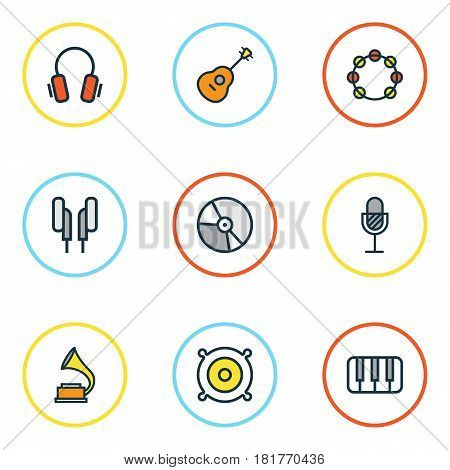 Multimedia Colored Outlines Set. Collection Of Tambourine, Keys, Circle And Other Elements. Also Includes Symbols Such As Music, Phonograph, Earphones.
