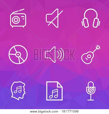 Audio Outlines Set. Collection Of Cover, Plastic, Earphones And Other Elements. Also Includes Symbols Such As Soundtrack, Radio, Wireless.