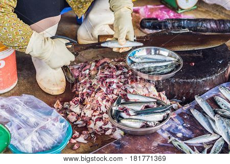 Fresh Seafood On The Vietnamese Market. Asian Food Concept
