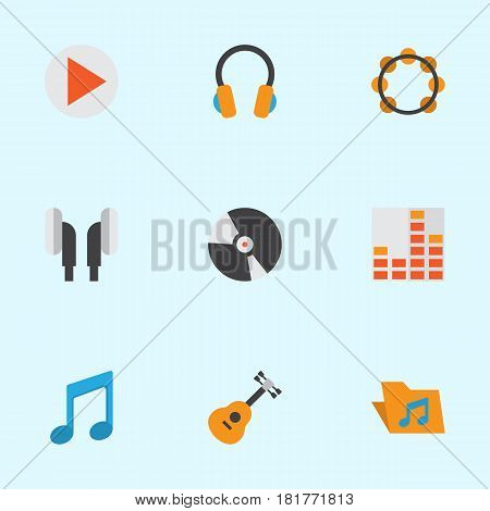 Multimedia Flat Icons Set. Collection Of Portfolio, Tone, Rhythm And Other Elements. Also Includes Symbols Such As Rhythm, Dj, Disk.