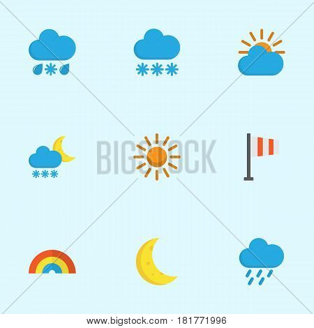 Climate Flat Icons Set. Collection Of Banner, Drizzles, Sunny And Other Elements. Also Includes Symbols Such As Demilune, Winter, Bow.