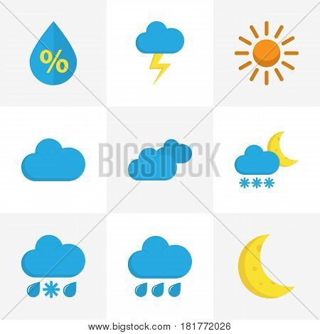Climate Flat Icons Set. Collection Of Overcast, Cloud, Drizzles And Other Elements. Also Includes Symbols Such As Cloud, Cloudy, Overcast.