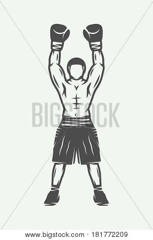Vintage retro boxer. Can be used for logo badge emblem mark label. Monochrome graphic Art. Vector Illustration.
