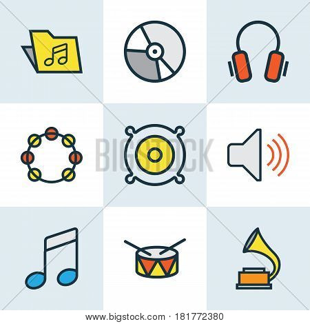 Audio Colored Outlines Set. Collection Of Barrel, Circle, Template And Other Elements. Also Includes Symbols Such As Loudspeakers, Package, Gadget.