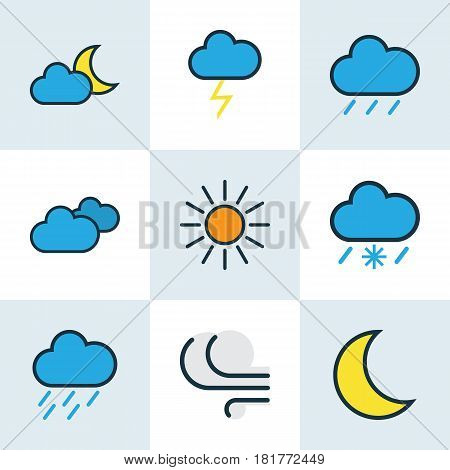 Nature Colored Outlines Set. Collection Of Hazy, Tornado, Windy And Other Elements. Also Includes Symbols Such As Breeze, Lunar, Rain.