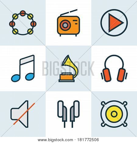 Multimedia Colored Outlines Set. Collection Of Mute, Gramophone, Loudspeakers And Other Elements. Also Includes Symbols Such As Notes, Mute, Play.