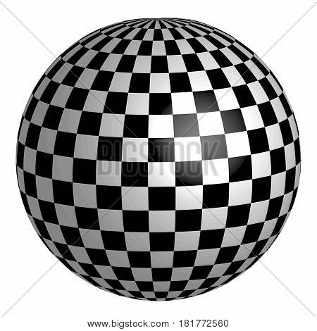sphere with square pattern on the surface, vector chess planet earth