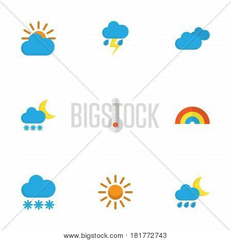 Climate Flat Icons Set. Collection Of Temperature, Snow, Overcast And Other Elements. Also Includes Symbols Such As Outbreak, Sun, Temperature.