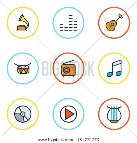 Audio Colored Outlines Set. Collection Of Circle, Mixer, Strings And Other Elements. Also Includes Symbols Such As Music, Equalizer, Instrument.
