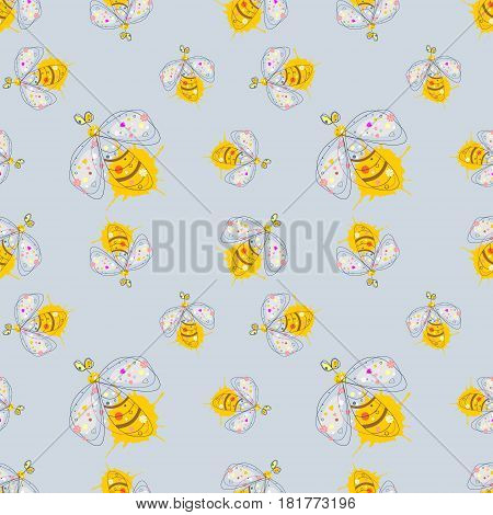 Vector seamless pattern with insect Hand drawn outline decorative endless background with cute drawn wasp Graphic illustration. Line drawing. Print for wrapping, background, decor