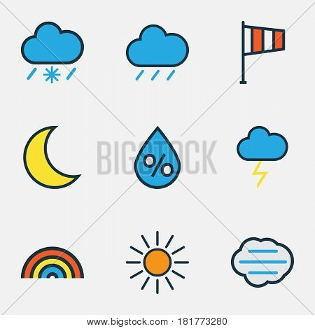 Climate Colored Outlines Set. Collection Of Hail, Rainbow, Sunshine And Other Elements. Also Includes Symbols Such As Cloudburst, Thunderstroke, Lunar.