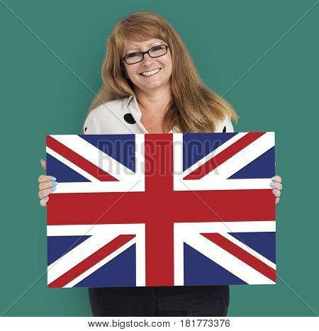 Woman Hands Hold England UK Flag Patriotism