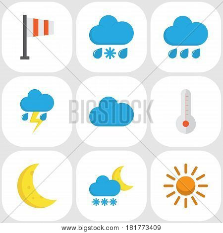 Weather Flat Icons Set. Collection Of Cloud, Banner, Drizzles And Other Elements. Also Includes Symbols Such As Sun, Rain, Colors.