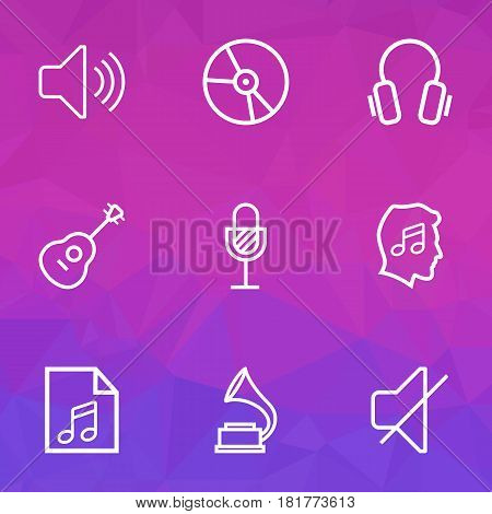 Music Outlines Set. Collection Of Strings, Soundtrack, Plastic And Other Elements. Also Includes Symbols Such As Lover, Microphone, Strings.